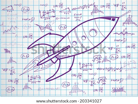 drawings of spaceship  on paper sheet. vector illustration - stock vector