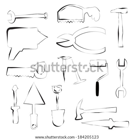 drawings of work tools,  - stock vector