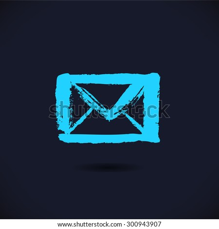 Drawn black silhouette of letter icon on dark background. Image of envelope in grunge style - stock vector