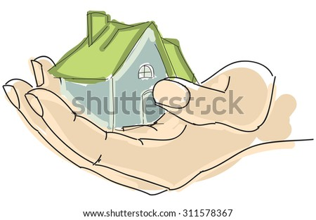 Drawn colored humans hand holding house with green roof. Vector illustration - stock vector