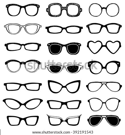 Drawn glasses vector set. Retro hipsters style. - stock vector