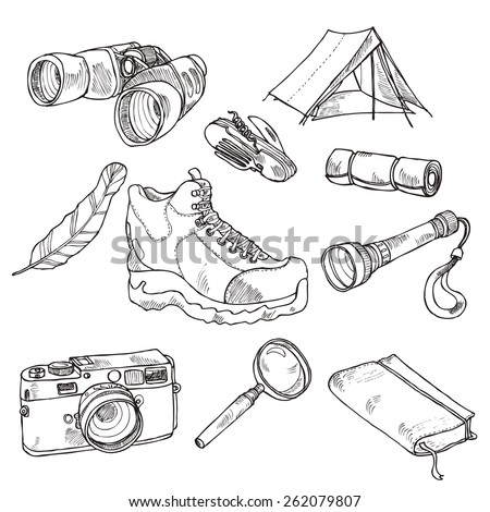 Drawn hiking collection in black and white, in vector - stock vector