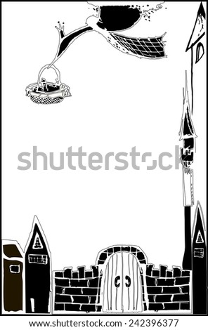 Drawn in vector stork in scarf carries a newborn in a basket - stock vector