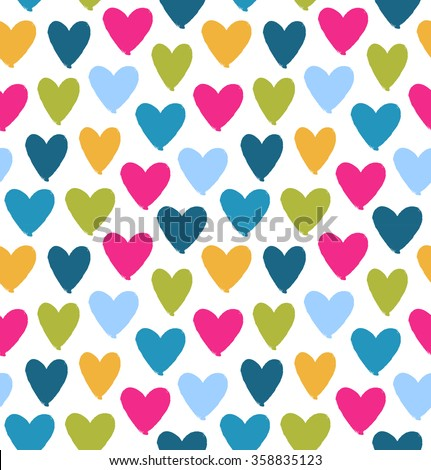 Drawn multicolor heart silhouettes on white background. Saint Valentine's Day. Symbol of love on decorative seamless pattern - stock vector