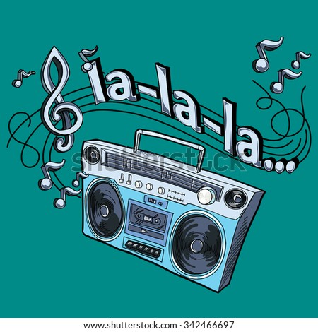 Drawn tape recorder and melody - stock vector