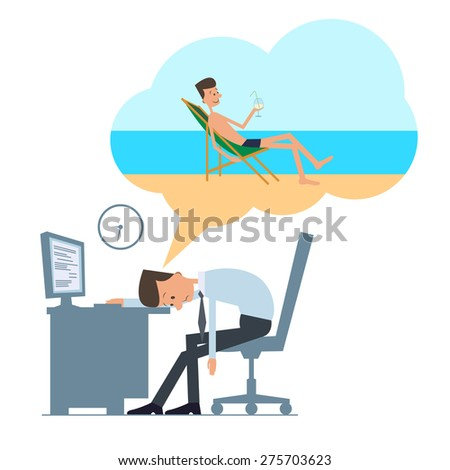 Dream about vacation - stock vector