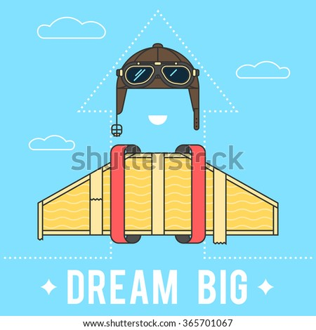 Dream big concept , cardboard wings and a helmet with goggles Aviator retro. Modern flat line vector logo pictogram illustration - stock vector