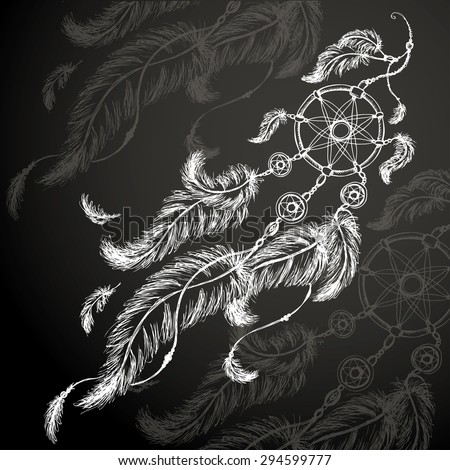 Dream catcher, feathers and beads on black background. Native american indian dream catcher, traditional symbol. - stock vector