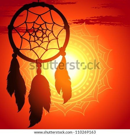 dream catcher, silhouette of a feather on a background sunset - stock vector
