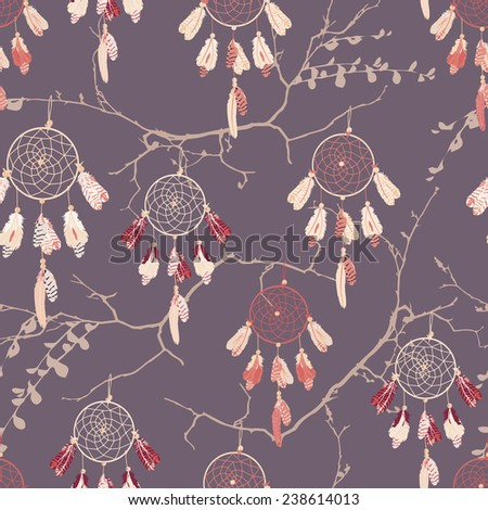 Dream catchers on the bare branches seamless vector pattern  - stock vector