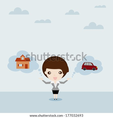 Dream for car and house, Business woman show car and house in cloud bubble (Chattel and Property) , Business concept cartoon - stock vector