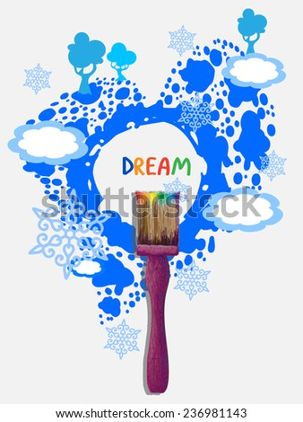 Dream motivation poster. Paint brush tool. Blue blot as heart with drops as island, trees,clouds, snow. On white background. Vector illustration - vector stock. As design element,web page template. - stock vector