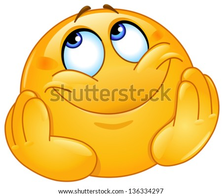 Dreamy emoticon - stock vector