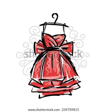 Dress on hangers, sketch for your design - stock vector