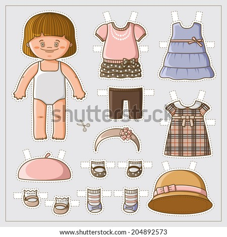 Dress up cute paper doll with body template. Vector set of clothes. - stock vector