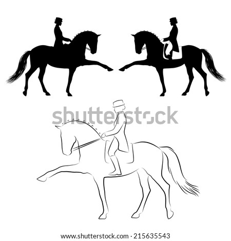 Dressage  horse with rider performing spanish walk - stock vector