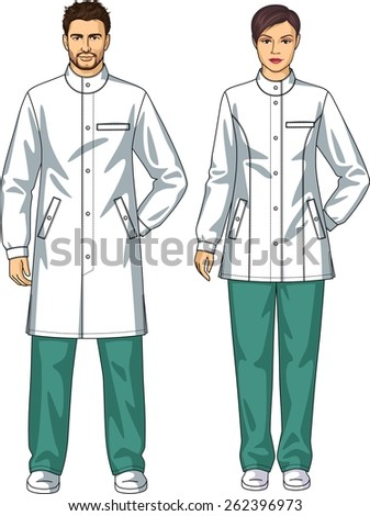 Dressing gown for the man and the woman with pockets and a belt - stock vector