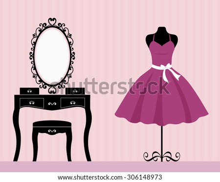 dressing table mannequin and dress - stock vector