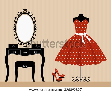 dressing table mannequin and retro red dress - stock vector