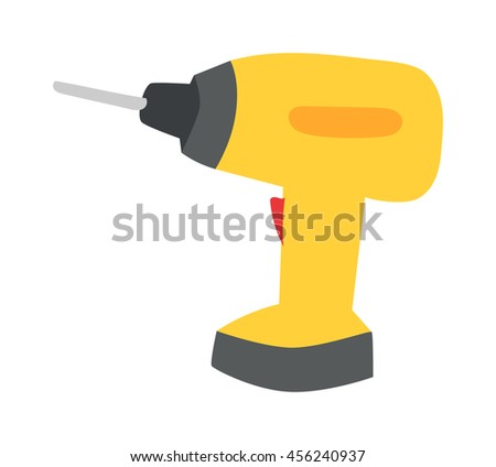 Drill hand tool flat vector. Hand drill electro tool. Electric screwdriver icon. Some flat hand drill isolated on white background. - stock vector