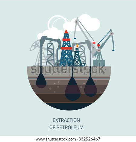Drilling rig at sea. Oil platform, gas fuel, industry offshore, drill technology, flat vector illustration - stock vector