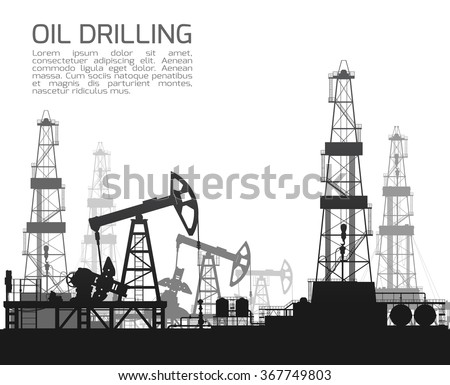 Drilling rigs and oil pumps isolated on white background. Detail vector illustration. - stock vector