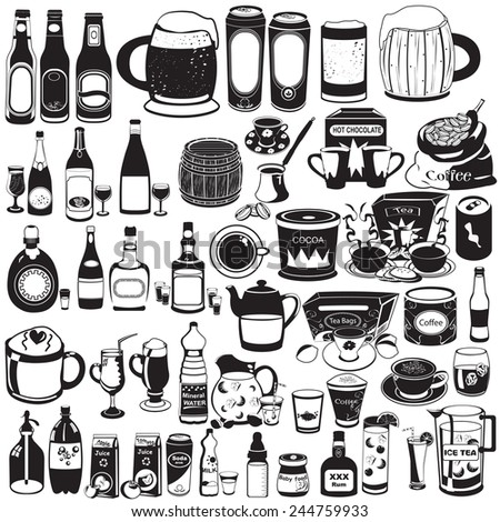 Drink black icons - stock vector