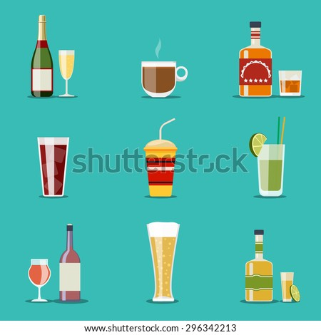 Drink flat icons. Alcohol and beer, wine bottles. Cocktail and champagne, wineglass and tequila, coffee mug, cognac and juice. Vector illustration - stock vector