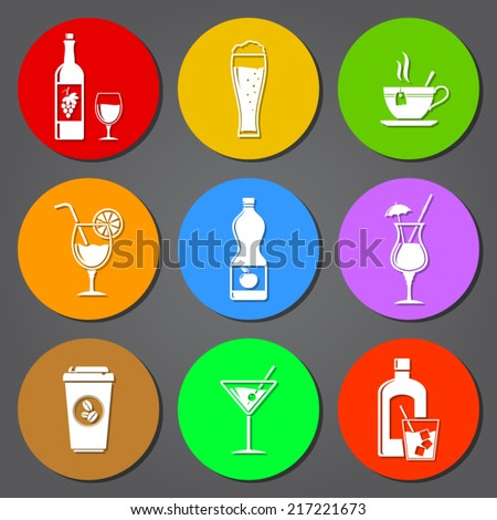 Drink flat icons set - stock vector