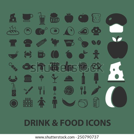 drink, food, cafe, restaurant flat icons, signs, illustrations design concept vector set - stock vector