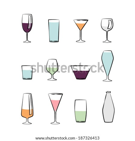 Drink glass set collection vector - stock vector