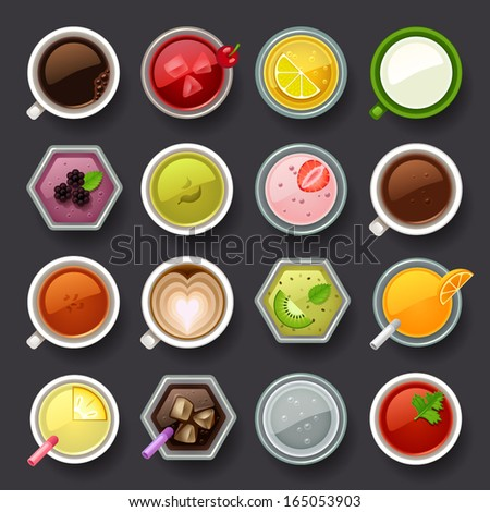 drink icon set - stock vector