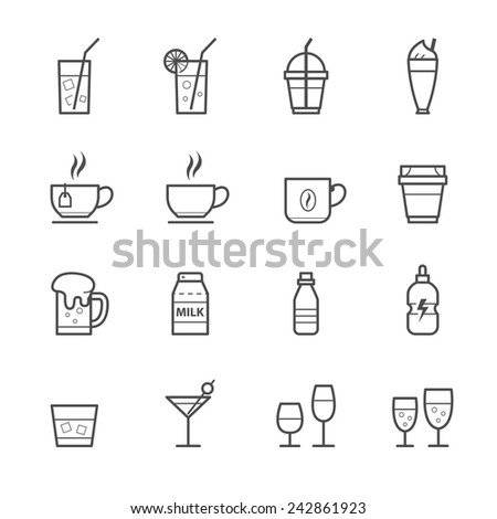 Drink icons and Beverages Icons - stock vector