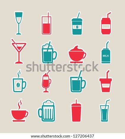 Drink icons over white background vector illustration - stock vector