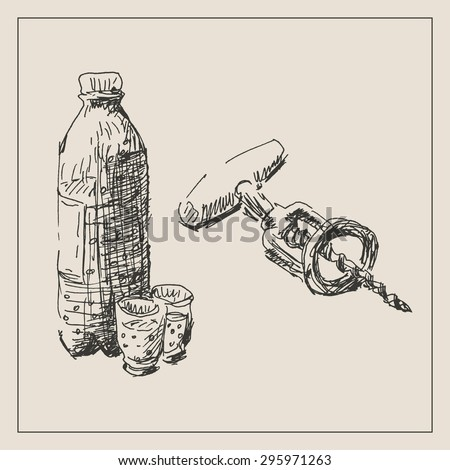 Drink set with glass , bottle and  corkscrew, in engraving etching sketch hand drawing style, for restaurant and  cafe design - stock vector