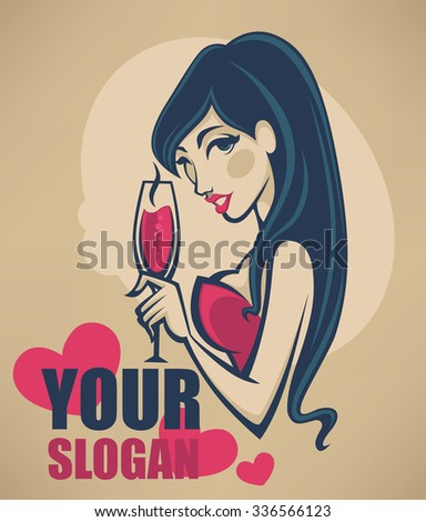 drink with me,vector commercial background with images of drink and girl image - stock vector