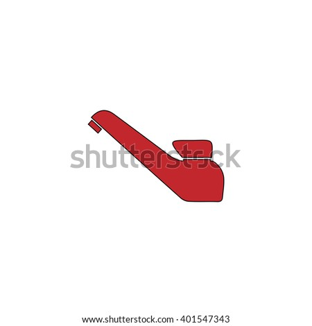 Drinking faucet. Red flat simple modern illustration icon with stroke. Collection concept vector pictogram for infographic project and logo - stock vector