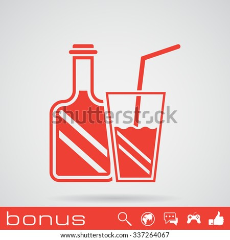 drinking glass and bottle - stock vector