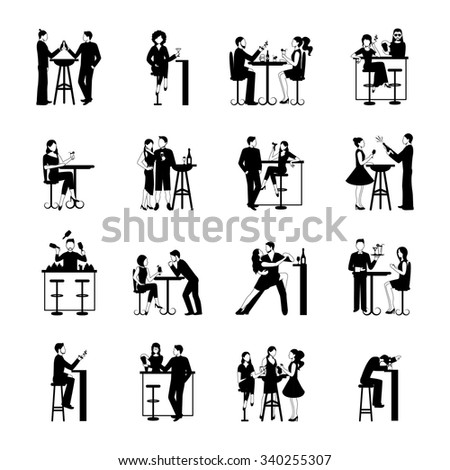 Drinking people icons set black and white isolated vector illustration - stock vector