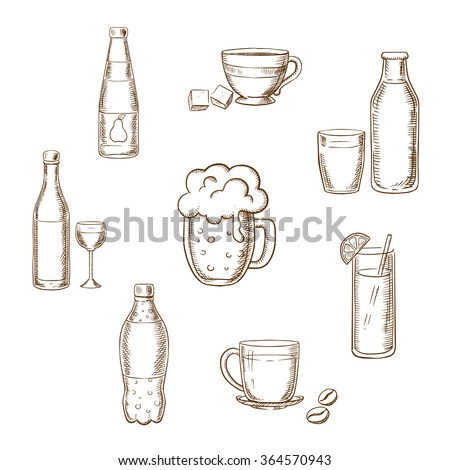 Drinks, alcohol and beverages sketch icons of a wine bottle and glass, beer, coffee, tea, milk bottle and glass, orange juice and soft drink soda. Sketch vector icons - stock vector