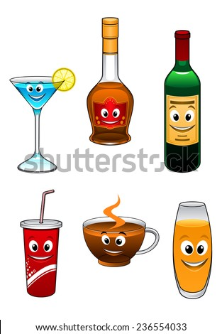 Drinks and beverage cartoon characters with  martini, coffee, liqueur, wine, takeaway coffee, tea, and glass of orange juice, vector illustration on white - stock vector