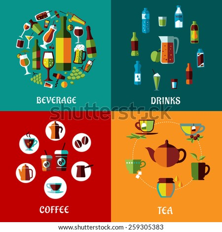 Drinks and beverages flat compositions for cafe, restaurants and menu design with alcohol, juice, coffee and tea icons - stock vector