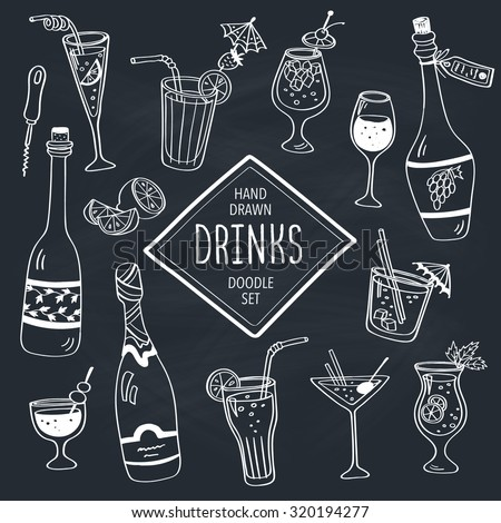 Drinks doodle set. Hand drawn cocktails icons on chalkboard. Doodle beverages collection. Bottles, glass, cocktails. Water, wine and juice. - stock vector