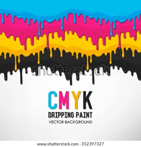 Dripping cyan, magenta, yellow and black paint vector background - stock vector