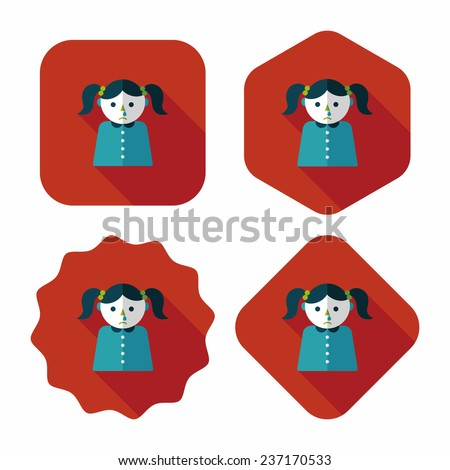 dripping nose flat icon with long shadow,eps10 - stock vector
