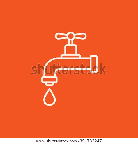 Dripping tap with drop line icon for web, mobile and infographics. Vector white icon isolated on red background. - stock vector