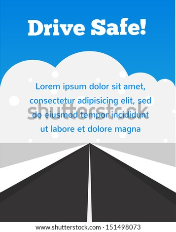 drive carefully at winter time - stock vector