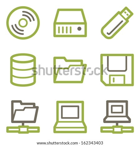 Drive storage icons, green line contour series - stock vector