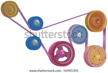 Drive wheels, pulleys and drive belt - stock vector