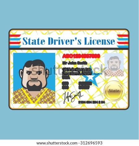Driver's License Man photo ID vector - stock vector